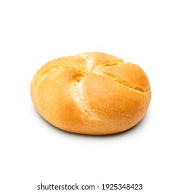 Baked bread roll isolated on white background. Side view