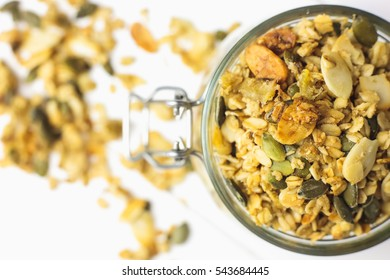 Baked breakfast cereals in a glass
