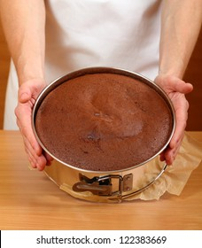 Baked Cake in Springform. Making Chocolate Layer Cake. Series.