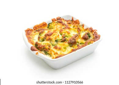 baked cauliflower and broccoli gratin with cheese isolated on white background