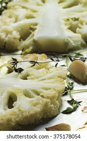Baked cauliflower on with garlic and thyme