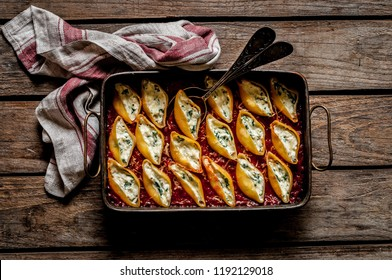 Baked Cheese and Spinach Stuffed Pasta Shells, copy space for your text