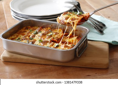 Baked Cheesey Tortellini in Metal Oven Dish