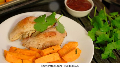 Baked Chicken  Breasts ant sweet potatoes