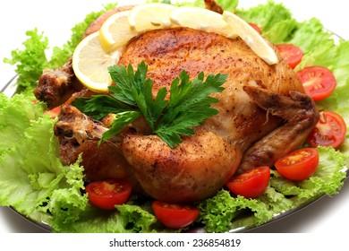 Baked chicken for festive dinner