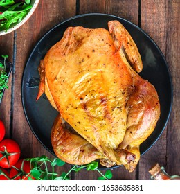baked chicken, festive table (hen or turkey) menu concept background. top view. copy spaces