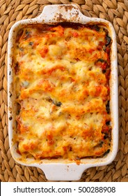 Baked chicken fillets with mozzarella in casserole. Shot from above