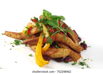 baked chicken with fungus potato and  leaf laurel