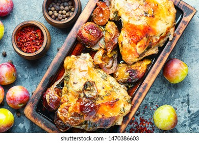 Baked chicken meat in plum sauce.Autumn food