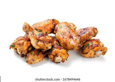 Baked chicken wings isolated on white background