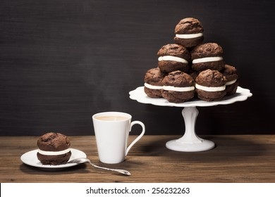 Baked Chocolate Moon or Whoopie Pies for Dessert with Coffee
