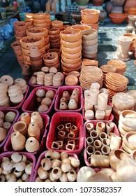 baked clay flower pot in garden store