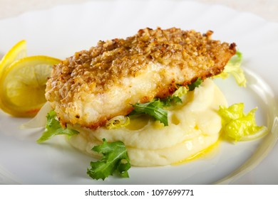 Baked Cod fish with mashed potato