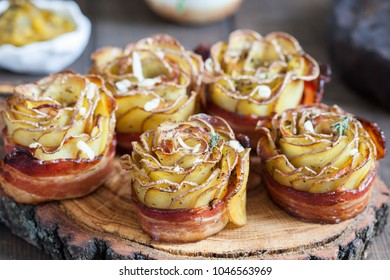 Baked Crispy potato roses with a bacon