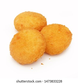 Baked croquettes isolated on white background