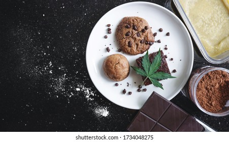 Baked desserts Cookie, Brownie and Bun Infused with Medical Cannabis, with Marijuana leaf and ingredients