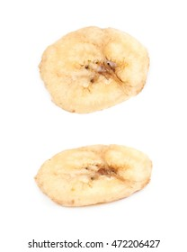 Baked and dried banana chip slice isolated over the white background, set of two different foreshortenings
