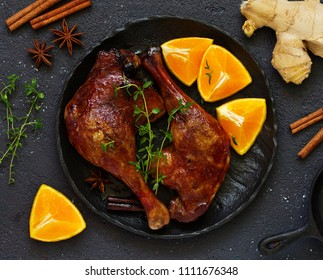 Baked duck leg in Chinese.