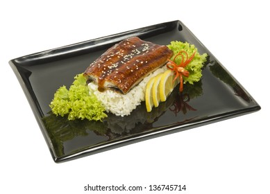 Baked eel cooked with rice and salad dining