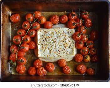 Baked feta pasta, or Tiktok pasta. Feta cheese and tomatoes in chilli and garlic oil. Use chili! In the oven it turns into an amazing pasta sauce by itself. Just add some cooked pasta, mix and enjoy.