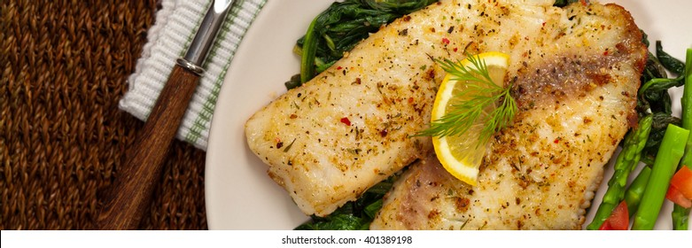 Baked Fish Fillet. Selective focus.