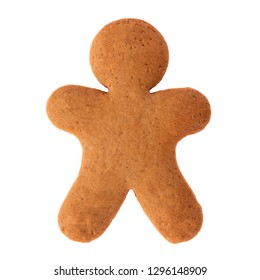 Baked gingerbread from shortbread in the form of a little man. Isolated on white background. Attribute of holiday, christmas etc.