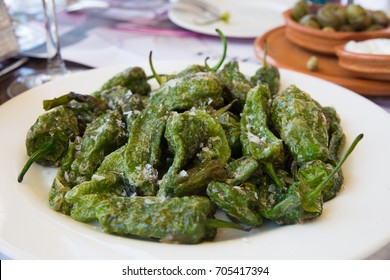 Baked green peppers