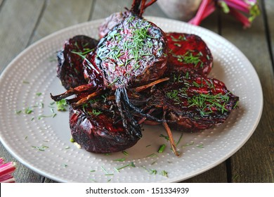 baked halves of young beets, food