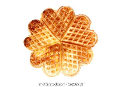 baked heart waffles isolated on white background