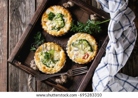 Baked homemade quiche pie