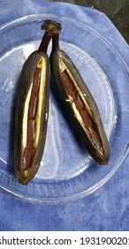 Baked hot banana chocolate bar - Shutterstock ID 1931900201