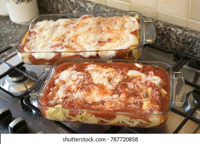 baked lasagna cooked in glass pyrex dish