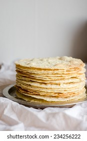 Baked layers for Napoleon cake, selective focus