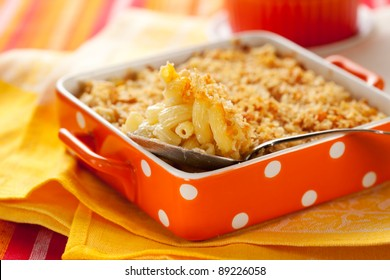 Baked macaroni and cheese in baking dish