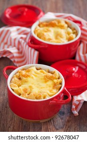Baked Macaroni and Cheese Casserole, selective focus