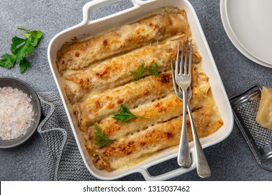 baked meat and vegetables crepe, top view