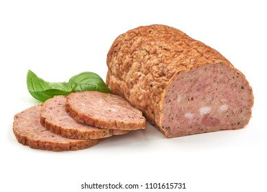 Baked meatloaf with boiled eggs, isolated on white background.
