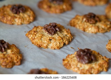 Baked oat cookies with a walnut