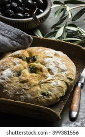 Baked olives bread with olives