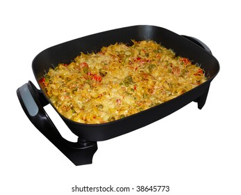 Baked pasta with cheese and fresh vegetables