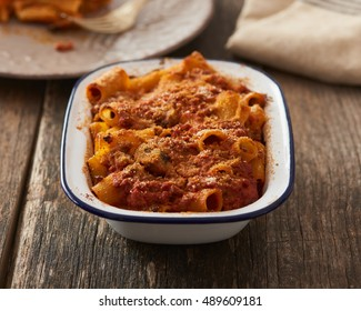 Baked Pasta with rag�¹ and mushrooms