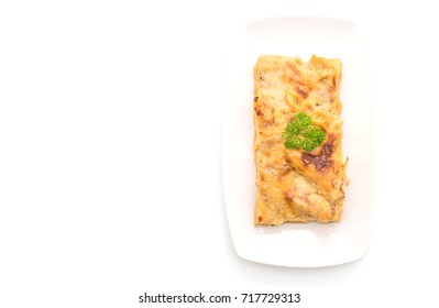 baked penne pasta with cheese and ham isolated on white background