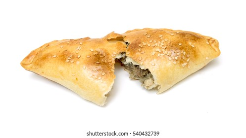 baked pie with meat on a white background