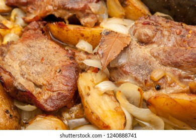 Baked pork and potatoes