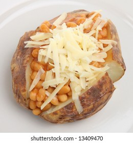 Baked potato with baked beans and cheese