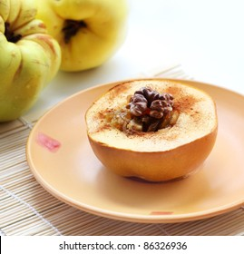 baked quince with Circassian walnut - very tasty dessert - Shutterstock ID 86326936