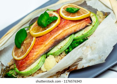 Baked salmon fillet dinner