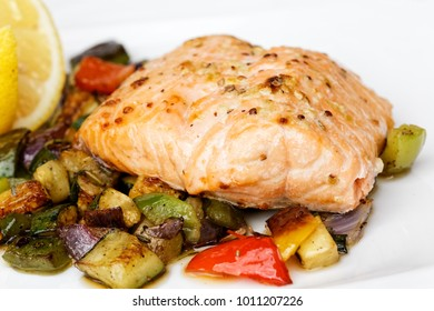Baked salmon fillet with grilled vegetable.