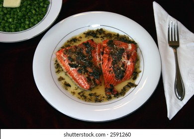 baked salmon with lime, ginger, and celantro sauce