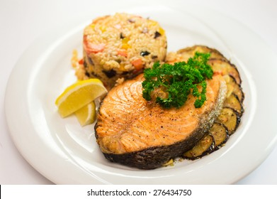 Baked Salmon with  Vegetable risotto